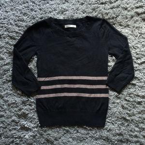 Basic Black Stretch Sweater 3/4 Sleeve Small